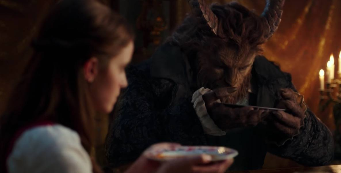 Belle and the Beast eat dinner