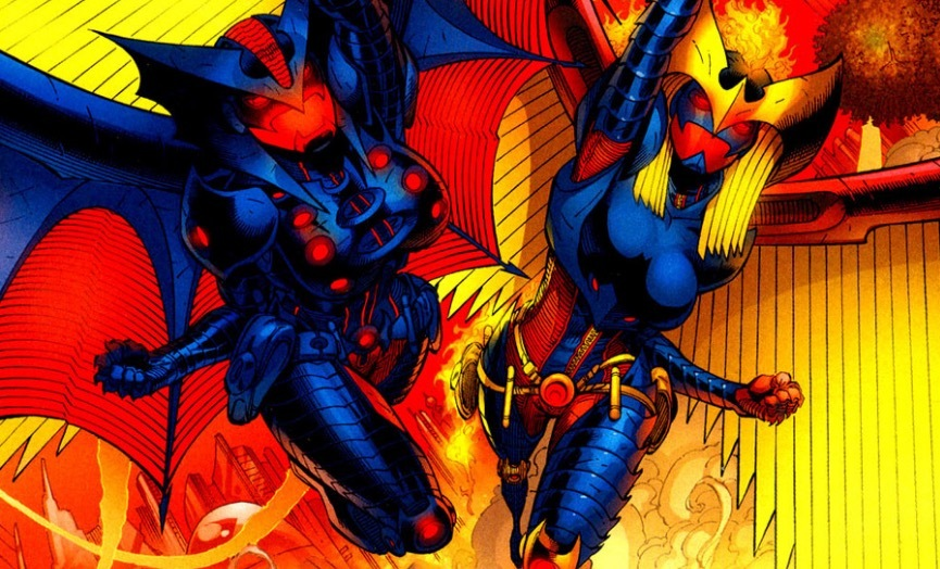 Power Girl and Supergirl as Nightwing and Flamebird
