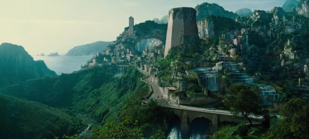 A full view of Wonder Woman's home city of Themyscira