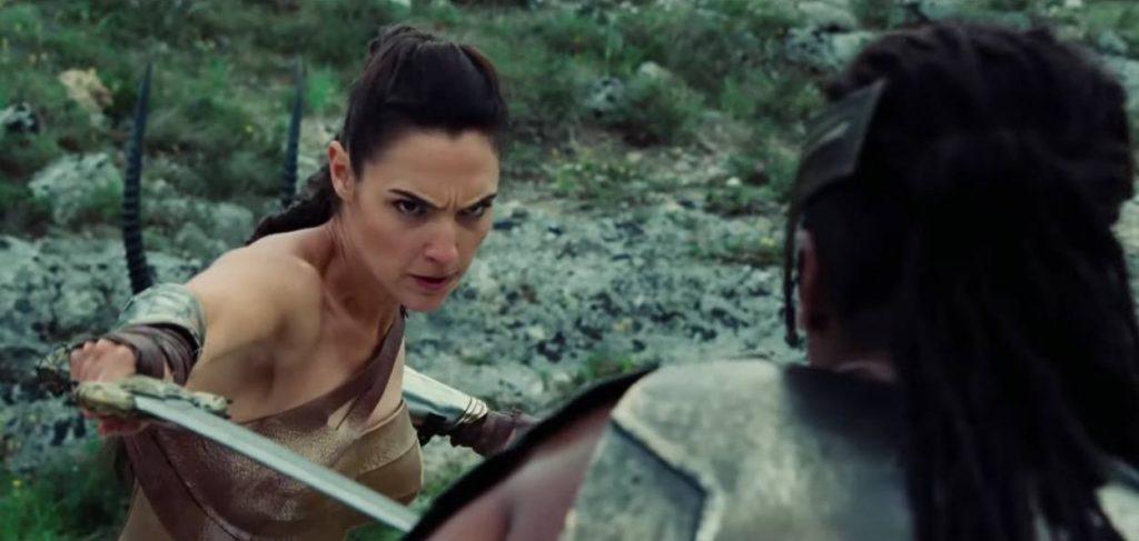 Wonder Woman going through her rigorous training regime