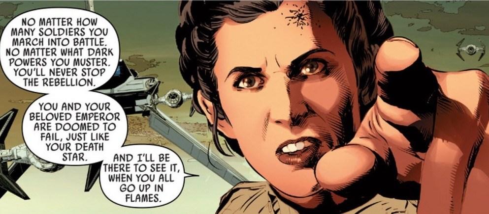 Princess Leia threatens Vader