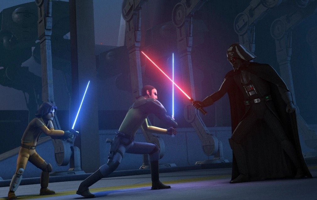 Kanan clashes sabers with Darth Vader, while Ezra looks on with his own lightsaber