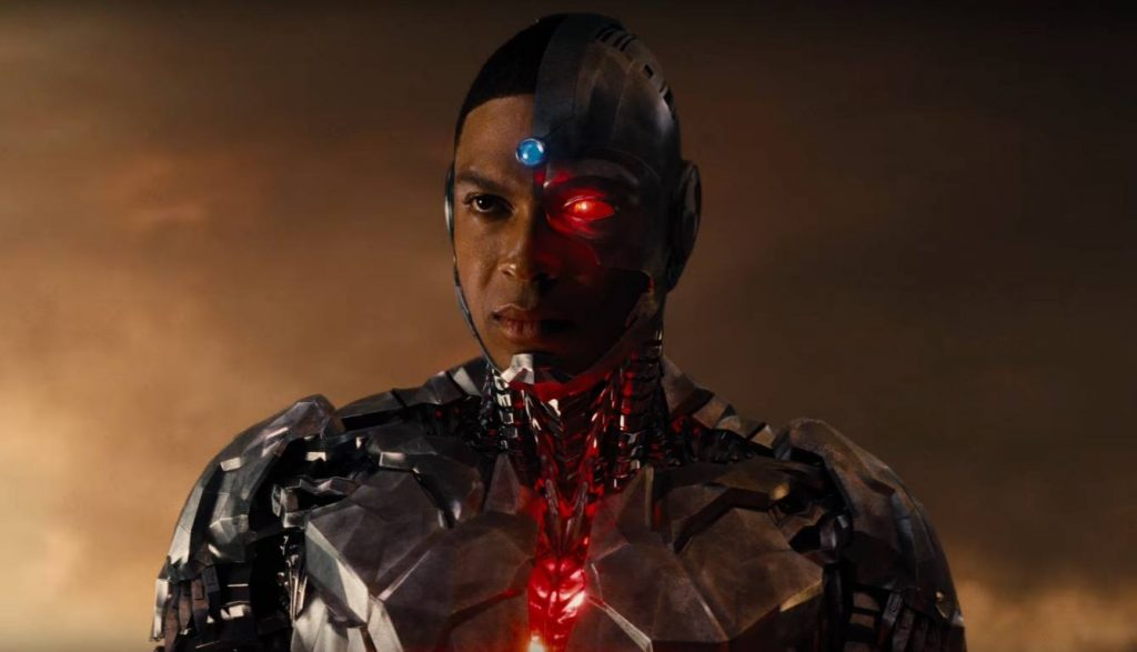 Ray Fisher looks into the distance as Cyborg in Justice League