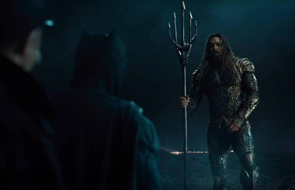 Aquaman talks to Batman in Justice League