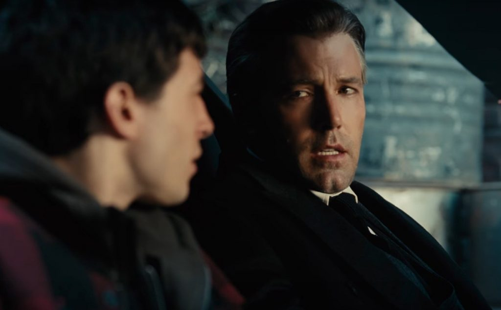 Bruce Wayne and Barry Allen have a conversation in the Batmobile together