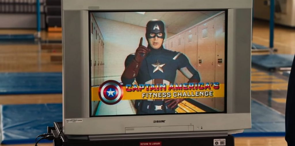 Captain America in a fictional fitness PSA on a TV in a gym in Spider-Man Homecoming
