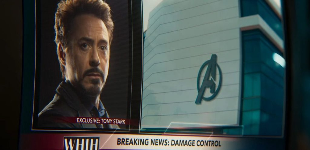 A TV showing Tony Stark, and advertising his new company, Damage Control