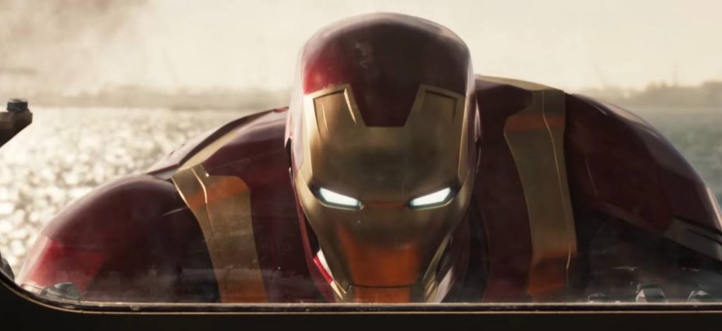 Iron Man looking through a window while helping stabilize a ship