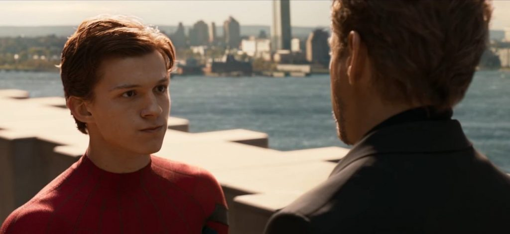Peter Parker has a conversation with Tony Stark