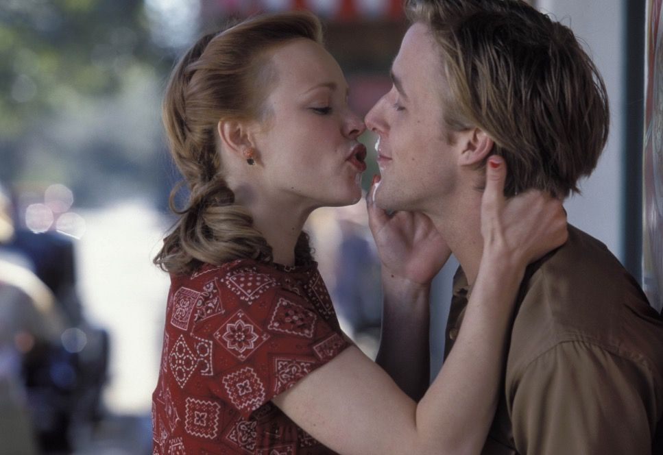 Rachel McAdams passionately kisses Ryan Gosling in The Notebook
