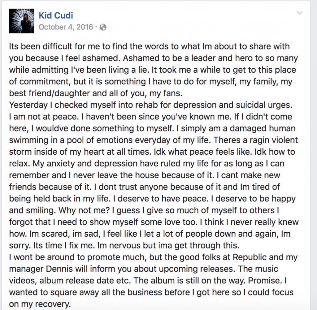Kid Cudi's post on Facebook regarding his depression