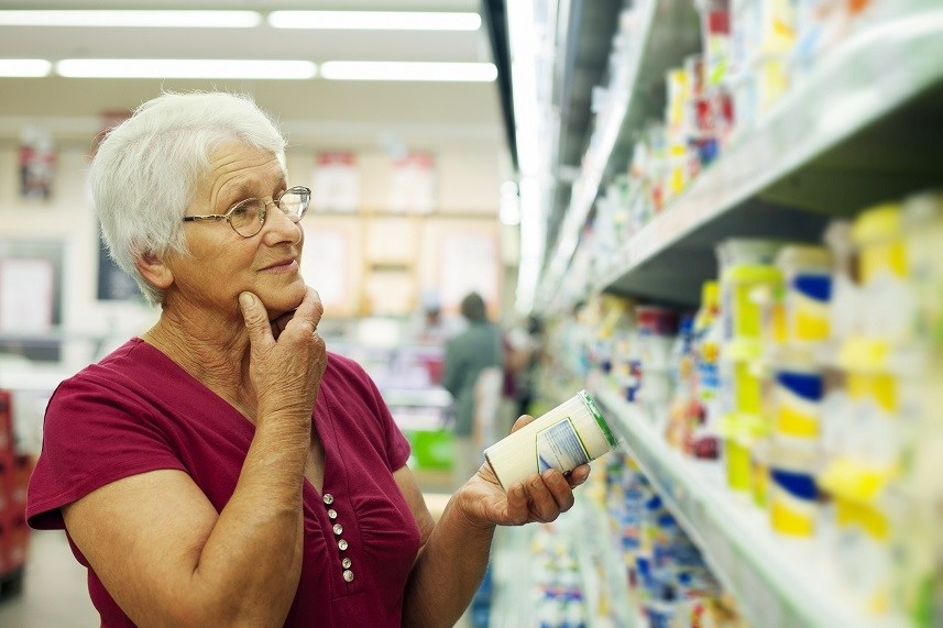 Senior woman at groceries store