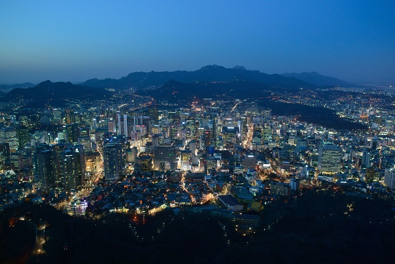 The northern city skyline of Seoul at dusk