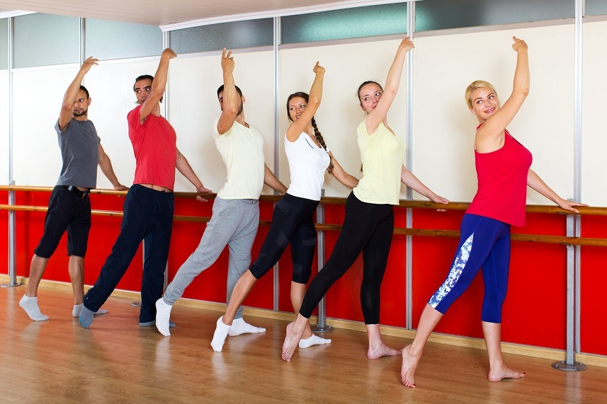 Happy people rehearsing ballet dance