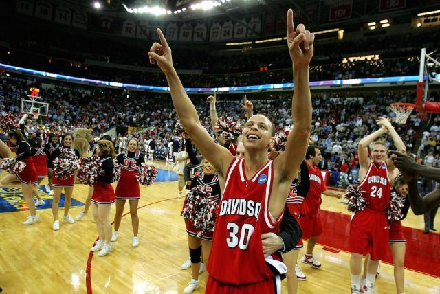 Stephen Curry of the Davidson Wildcats celebrates a major upset during March Madness.