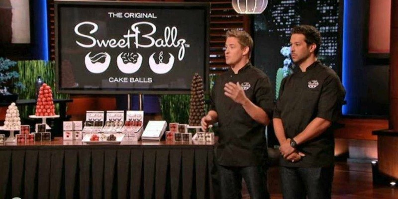 James McDonald and Cole Egger pitching Sweet Balls on Shark Tank.