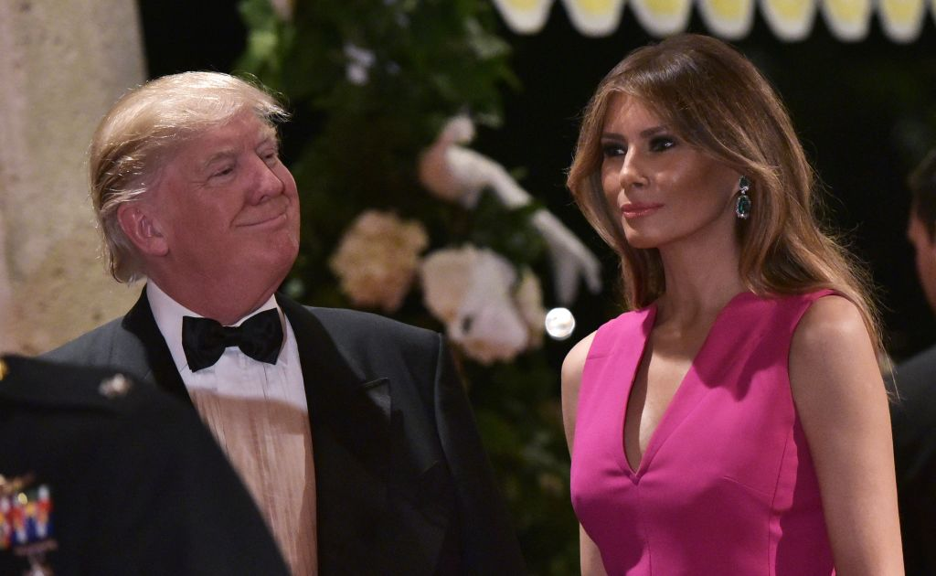 US President Donald Trump and First Lady Melania Trump arrive for the 60th Annual Red Cross Gala