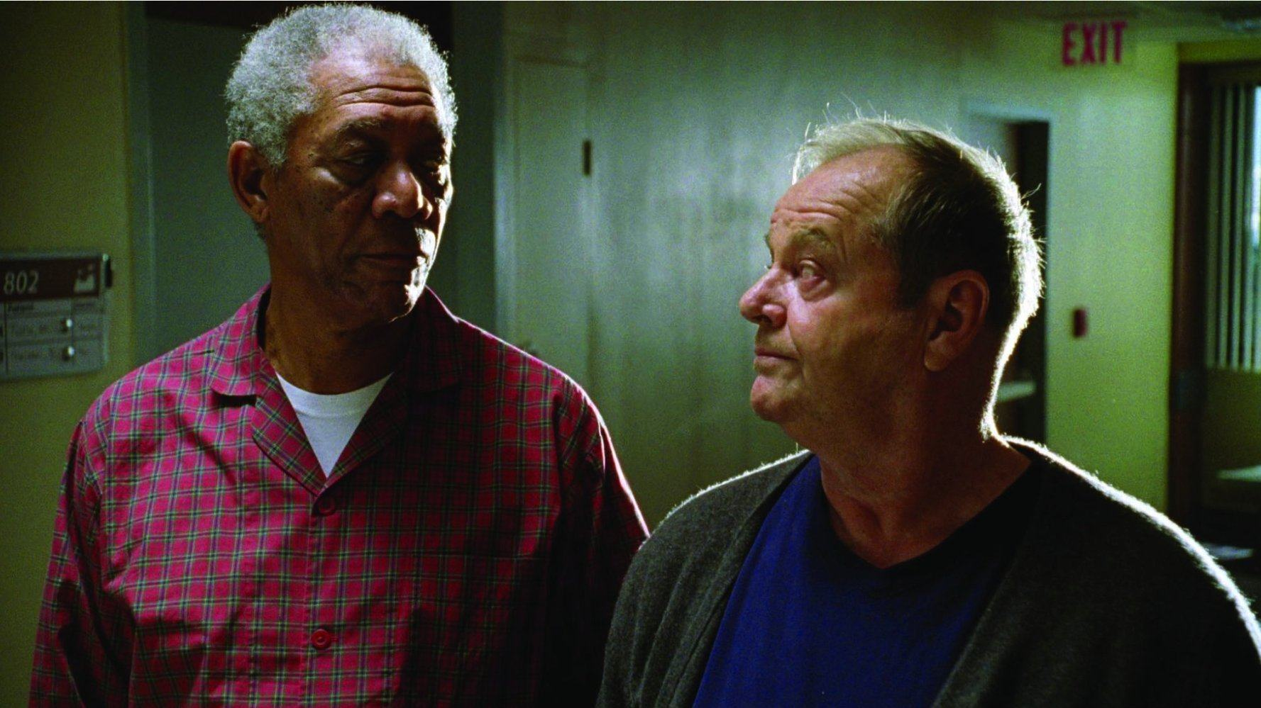 Morgan Freeman and Jack Nicholson look at each other in The Bucket List