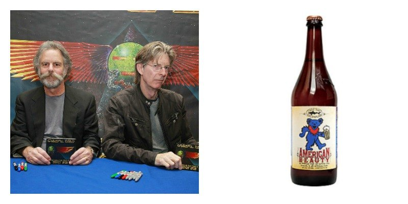 On the left is Bob Weird and Phil Lesh sitting together. On the right is a picture of a bottle of American Beauty beer