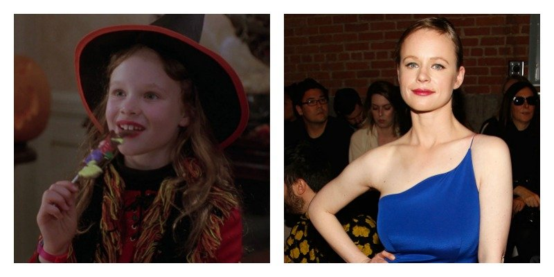 On the left is a picture of Thora Birch dressed as a witch in Hocus Pocus. On the right is a picture of Thora Birch in a dress at a fashion show.