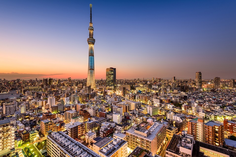 Tokyo, Japan cityscape with the Skytree tower in the distance