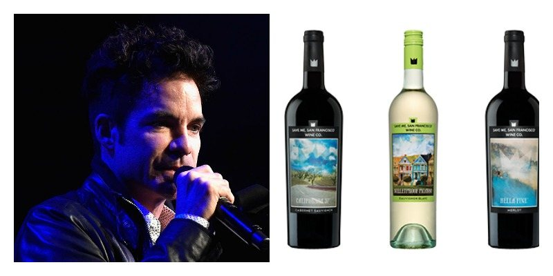 On the left is Pat Monahan of Train singing. On the right are bottles of Save Me, San Francisco Wine lined up