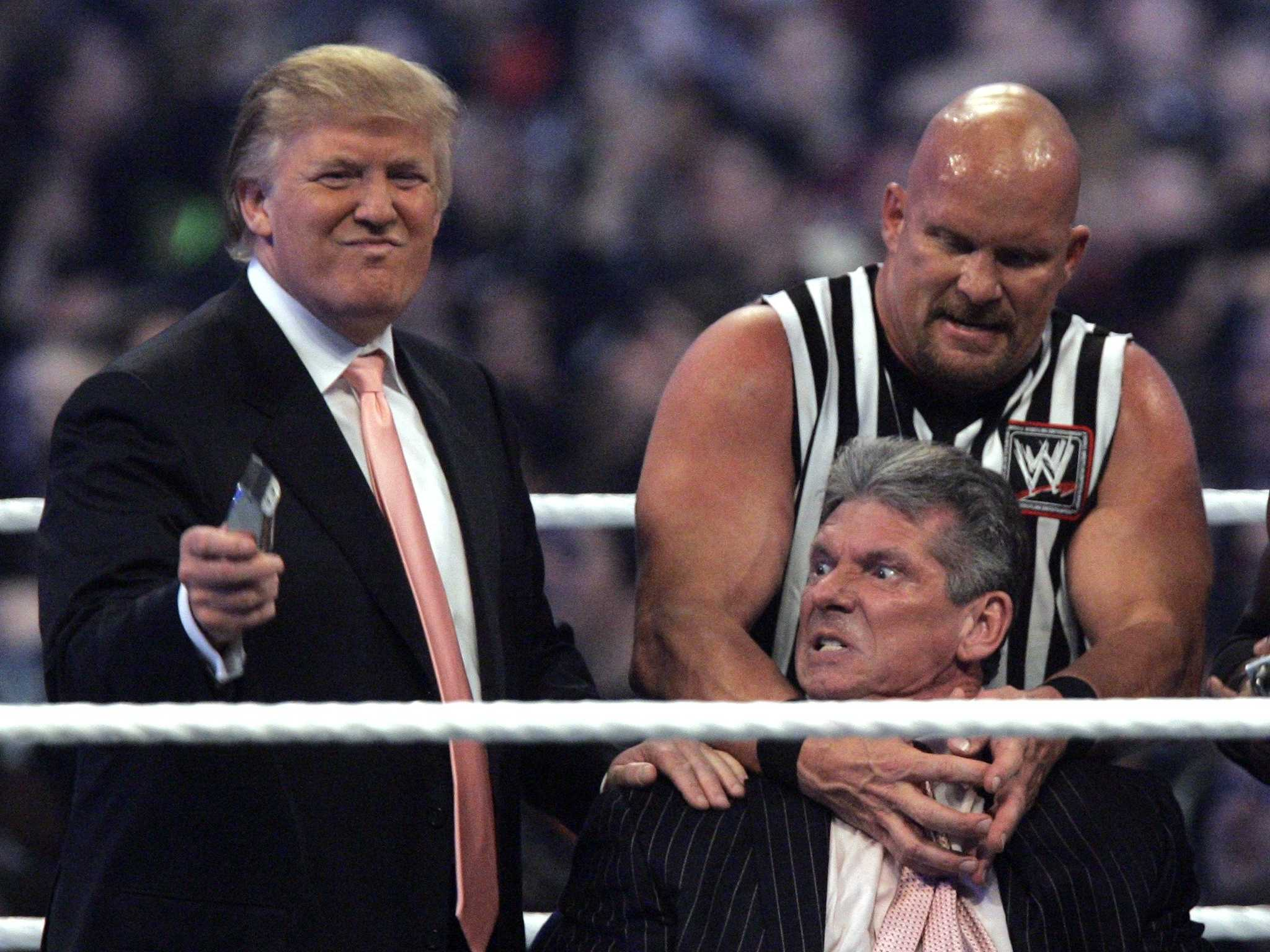 wrestling demonstration including Donald Trump