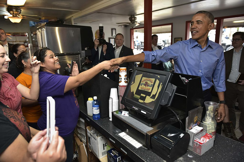 President Barack Obama orders during a stop at Torchy's Tacos.
