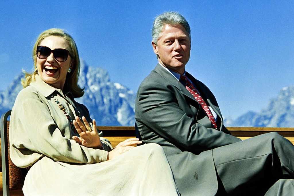 Hillary and Bill Clinton at the Grand Teton National Park