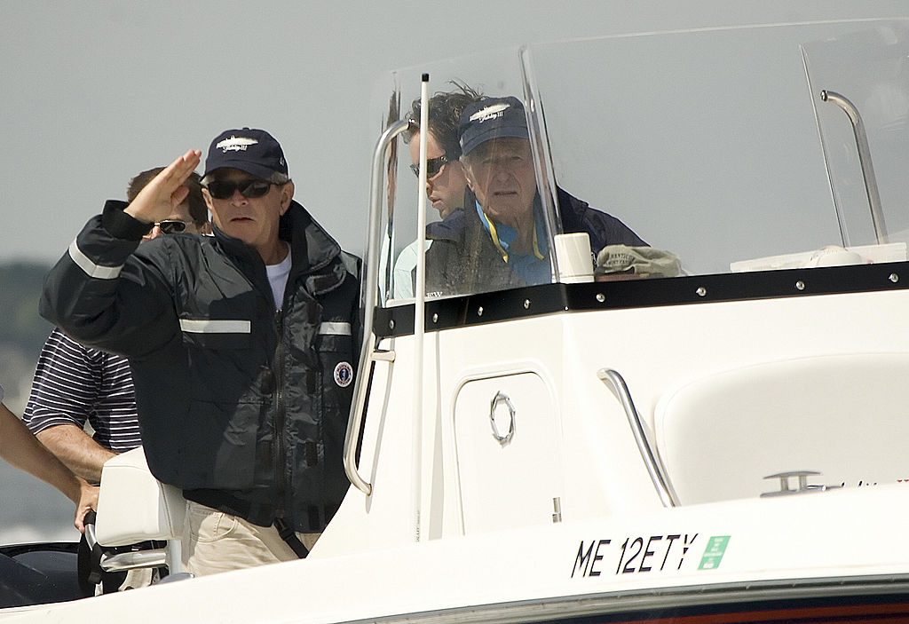 George W. Bush and George H.W. Bush fishing off the coast of Kennebunkport, Maine