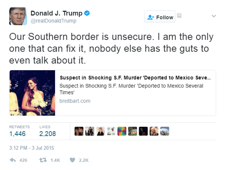 One of Donald Trump's tweets on the Mexico/US border