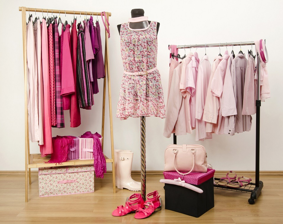Dressing closet with pink clothes
