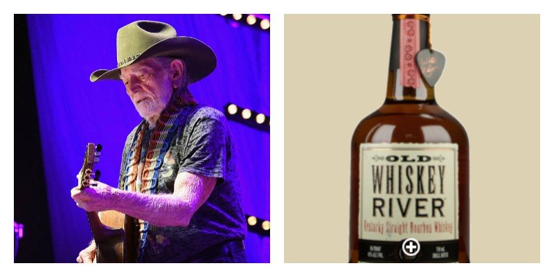 On the left is Willie Nelson playing guitar. On the right is a picture of a bottle of Old Whiskey River
