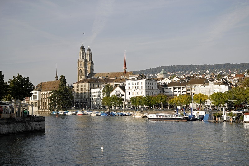 A general view of Zurich towards Grossmuenster church