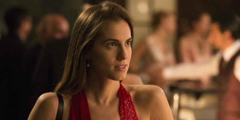 Allison Williams in a red dress on Girls