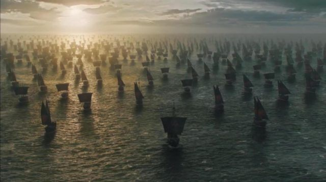A fleet of ships on the water in a scene from the Season 6 finale of 'Game of Thrones'