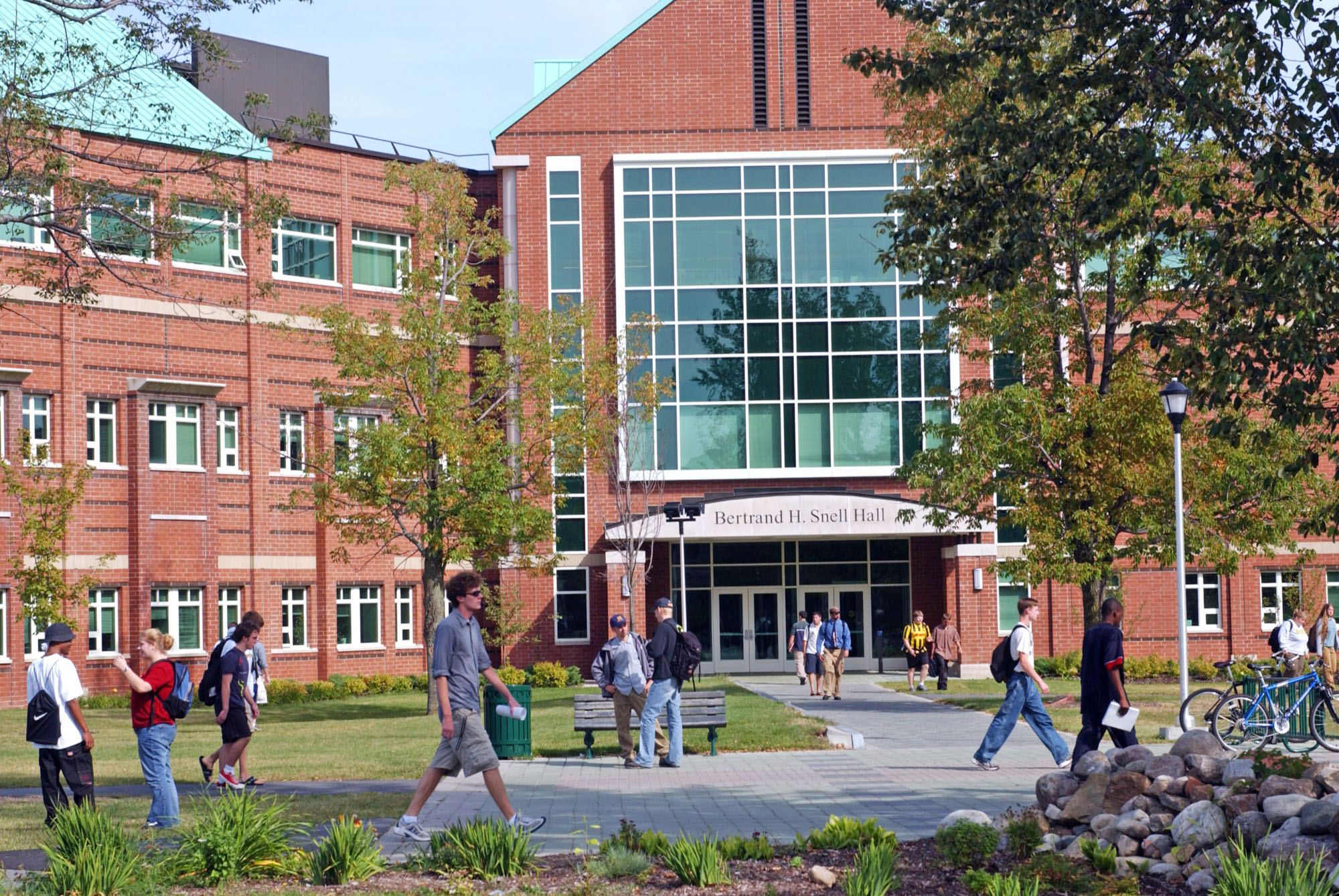 Students on campus at Clarkson University