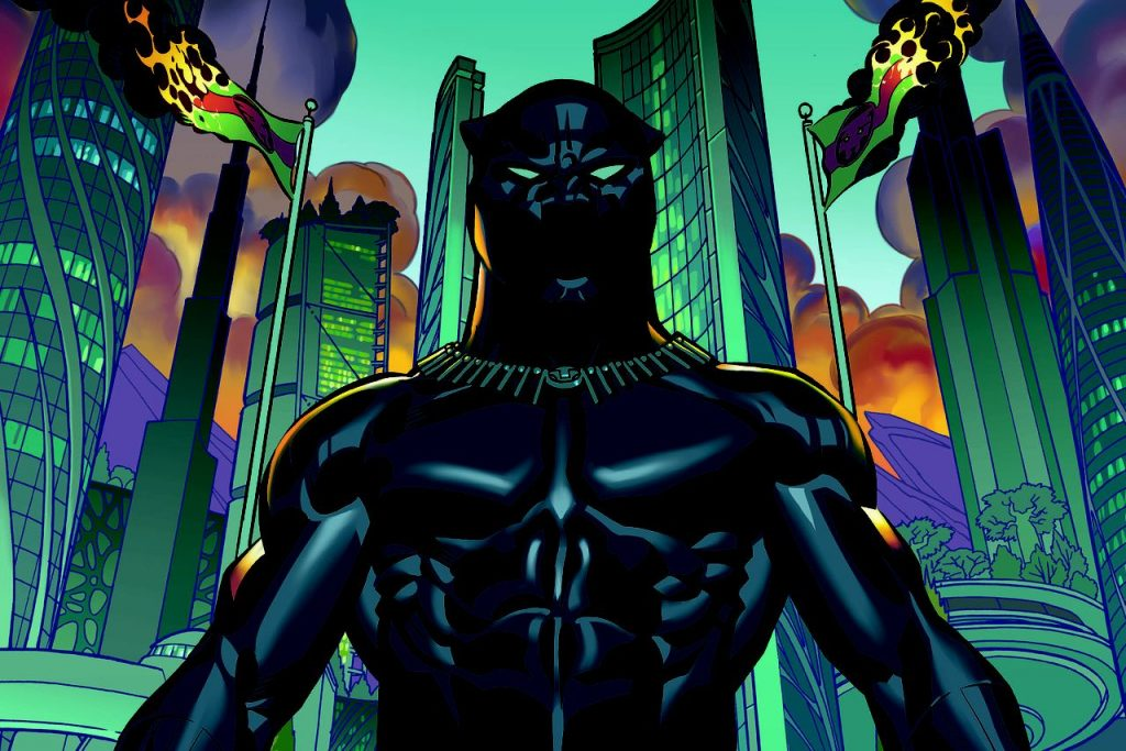 Black Panther comic stands in front of skyscrapers