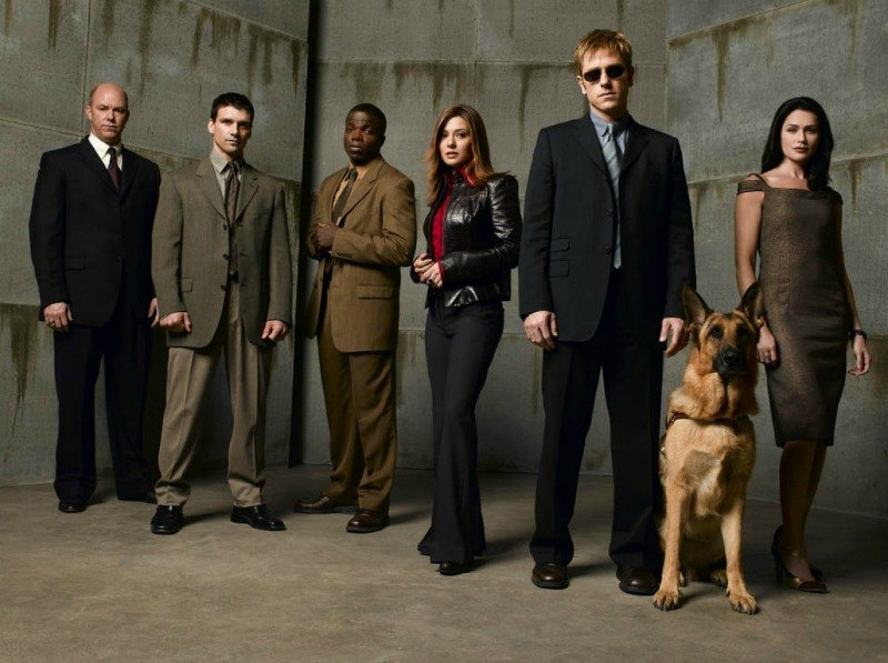 Group of men, women, and a German Shepherd dog standing in front of a gray wall