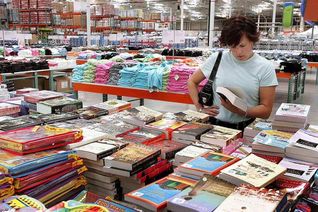 shopping for books at costco