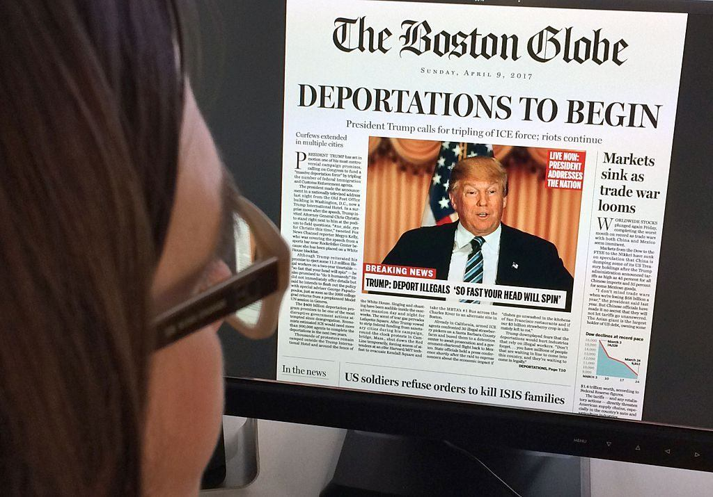"fake Boston Globe front page that says ""deportations to begin"""