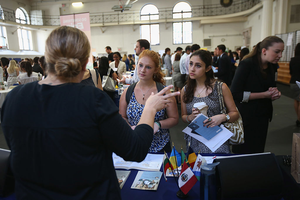 college students attend a career fair