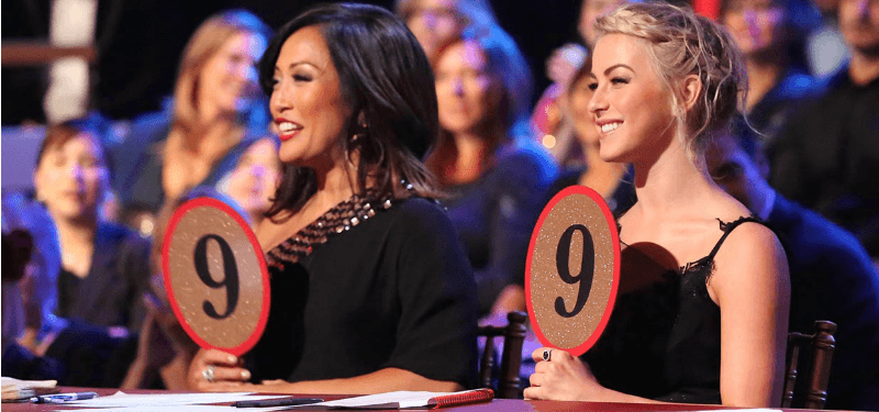 "Carrie Ann and Julianne Hough are holding up signs reading ""9"" on Dancing with the Stars."