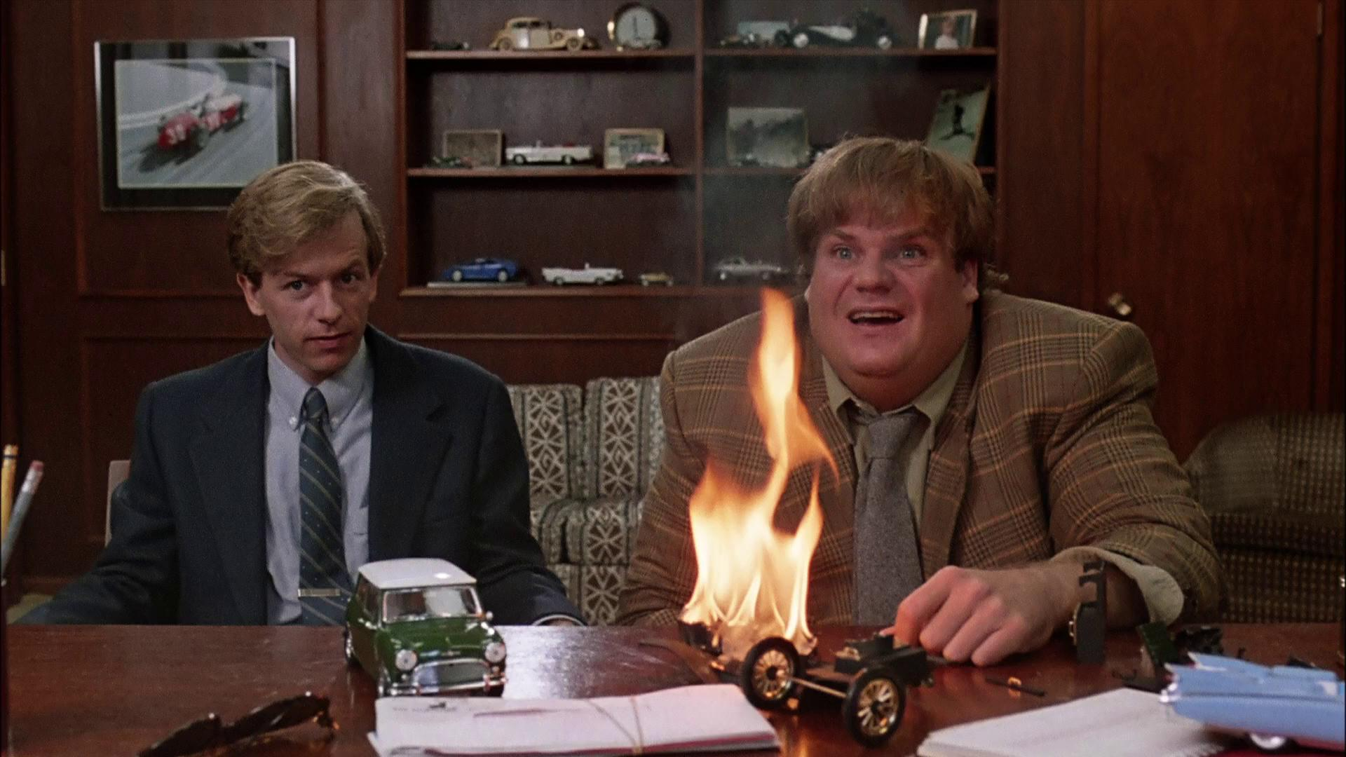 "Chris Farley and David Spade display ""low quality"" traits during a job search in the movie ""Black Sheep"""