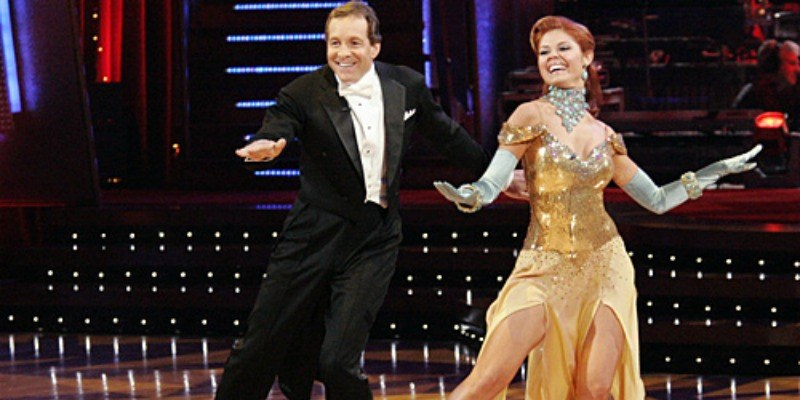 Steve Guttenberg and Anna Trebunskaya dancing on Dancing With the Stars.