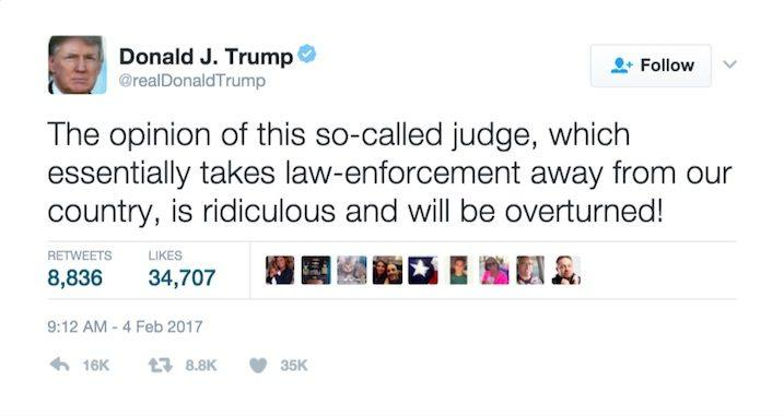"""One of Donald Trump's tweets on """"the so-called judge"""""""