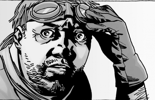 An image of Eugene Porter wearing goggles from 'The Walking Dead' comic series.