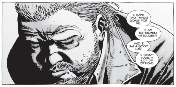 Eugene saying 'I have two things going for me. I am extremely intelligent and I am a good liar. I didn't have a lot of options' in a panel from 'The Walking Dead' comics