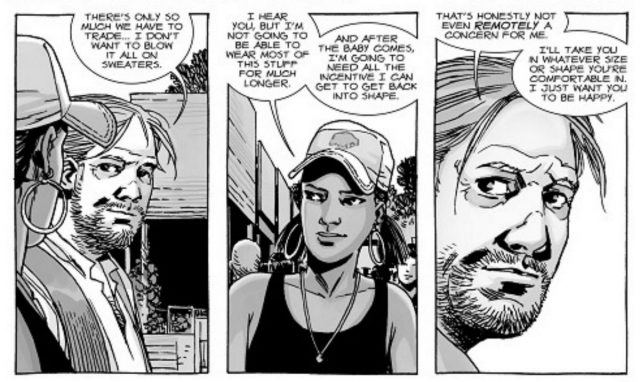 Eugene and Rosita talking about her pregnancy in 'The Walking Dead' comic series.