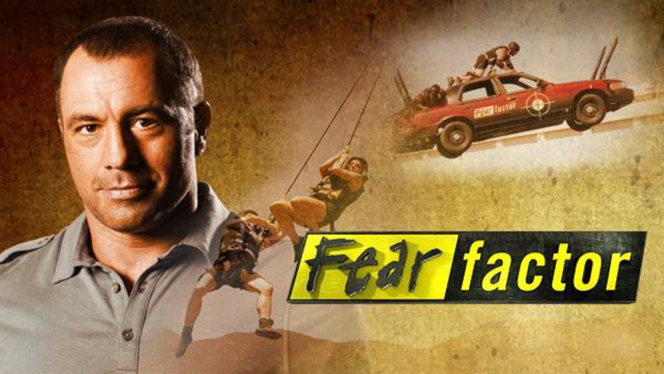 A Fear Factor promo image, with Joe Rogan, a car, and contestants